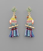 Jeweled Bird Tassel Earrings