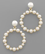 Studed Pearl Circle Earrings